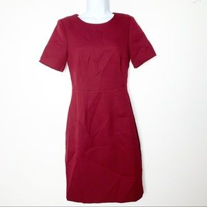 J.CREW | Cranberry Fitted Short sleeve Dress